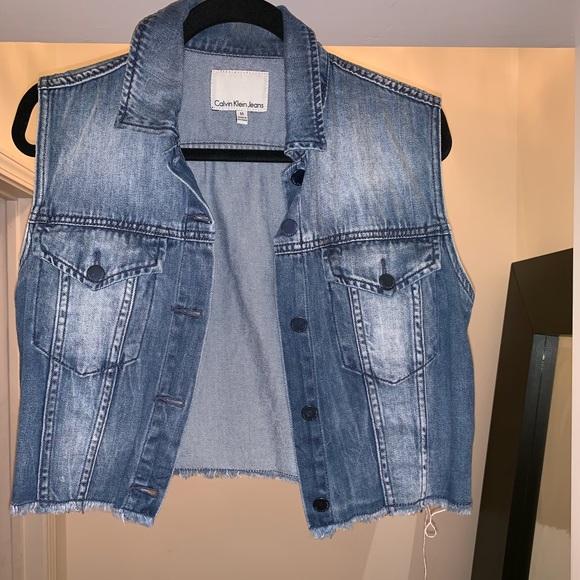 Calvin Klein Jeans Jackets & Blazers - Distressed denim vest by Calvin Klein